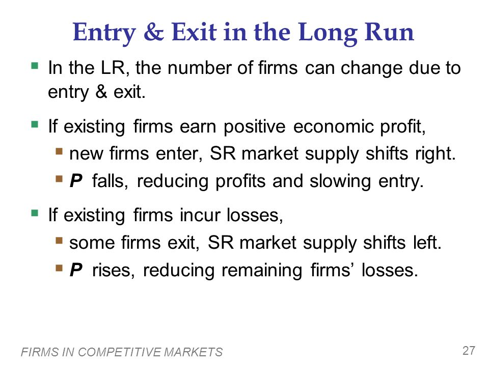 FIRMS IN COMPETITIVE MARKETS 27 Entry & Exit in the Long Run  In the LR, the number of firms can change due to entry & exit.