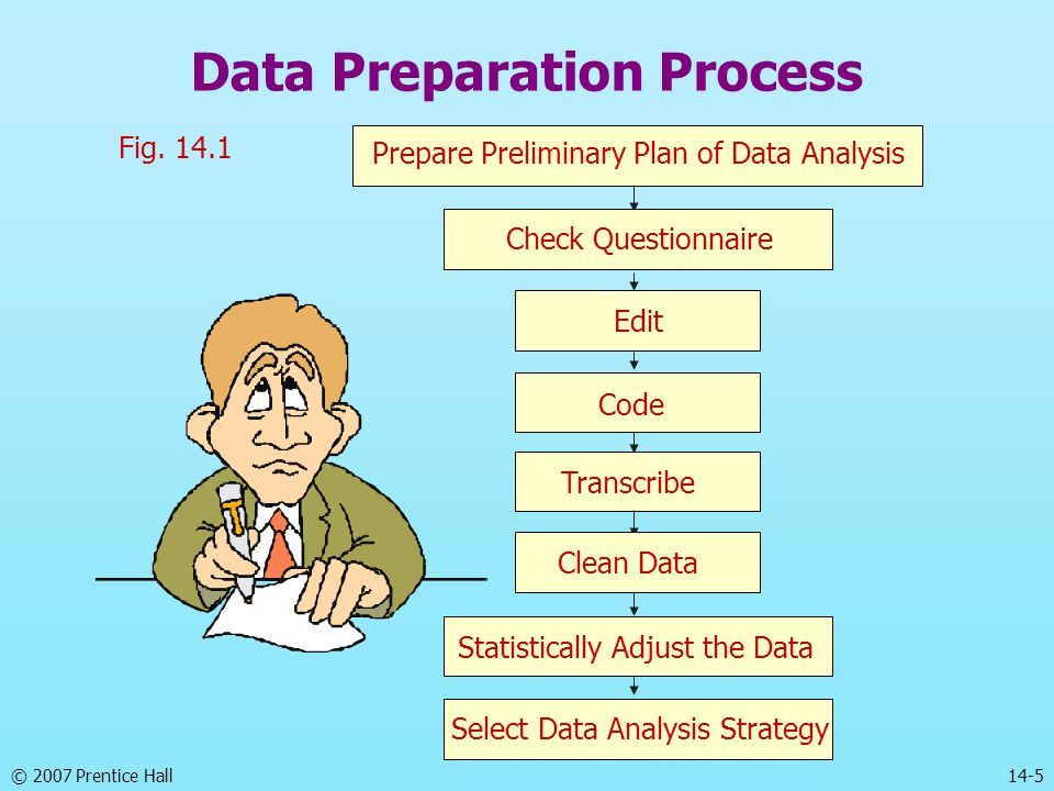 © 2007 Prentice Hall 14-5 Data Preparation Process Fig. 14.1 Select Data Analysis Strategy Prepare Preliminary Plan of Data Analysis Check Questionnai