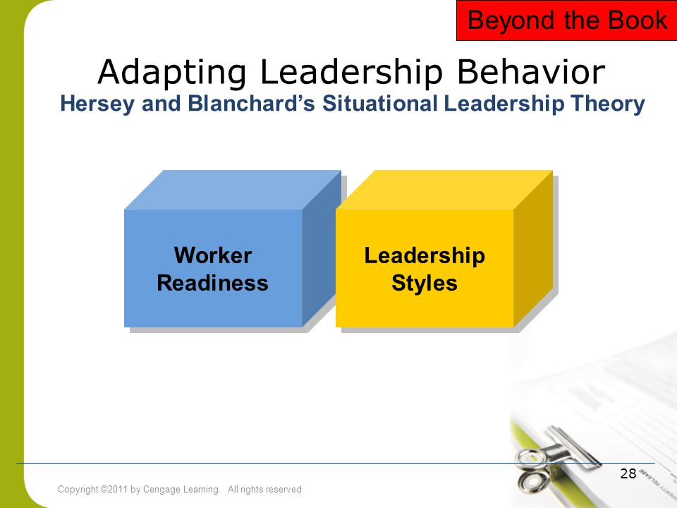 Copyright ©2011 by Cengage Learning. All rights reserved 28 Adapting Leadership Behavior Worker Readiness Leadership Styles Leadership Styles Hersey a