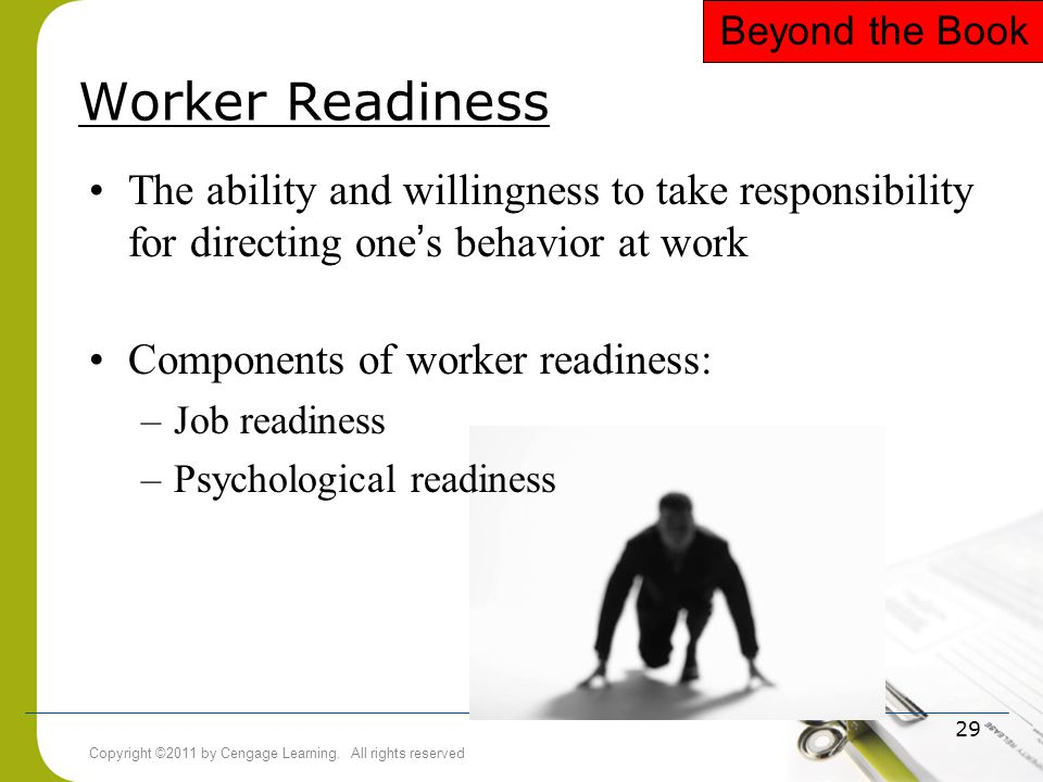 Copyright ©2011 by Cengage Learning. All rights reserved 29 Worker Readiness The ability and willingness to take responsibility for directing one ' s