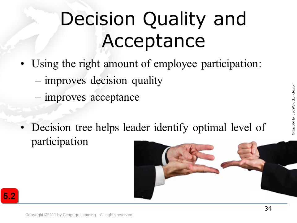 Copyright ©2011 by Cengage Learning. All rights reserved 34 Decision Quality and Acceptance Using the right amount of employee participation: –improve