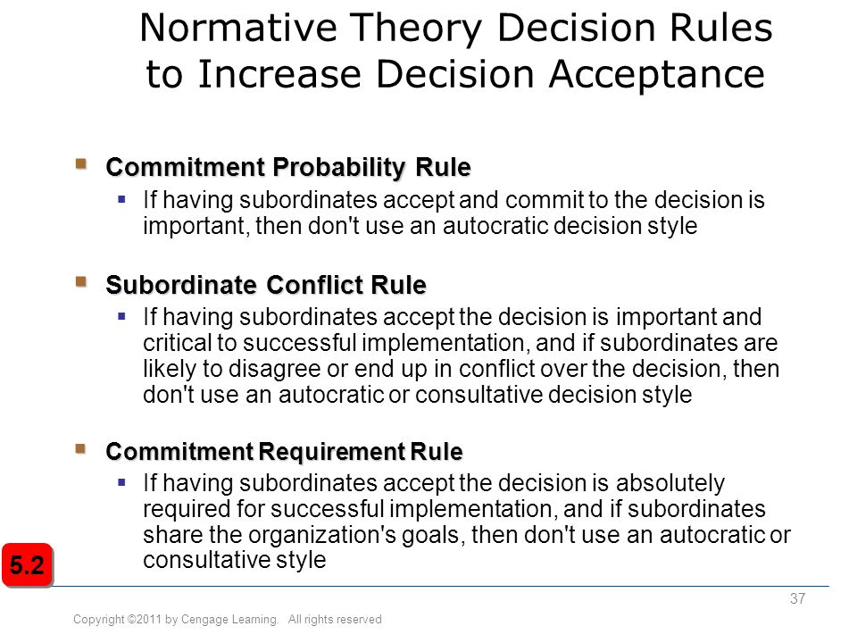 Copyright ©2011 by Cengage Learning. All rights reserved 37 Normative Theory Decision Rules to Increase Decision Acceptance  Commitment Probability R
