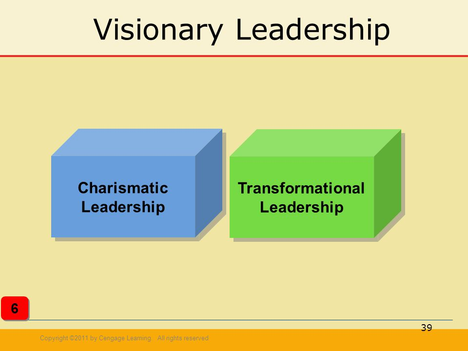 Copyright ©2011 by Cengage Learning. All rights reserved 39 Visionary Leadership Charismatic Leadership Transformational Leadership 6 6