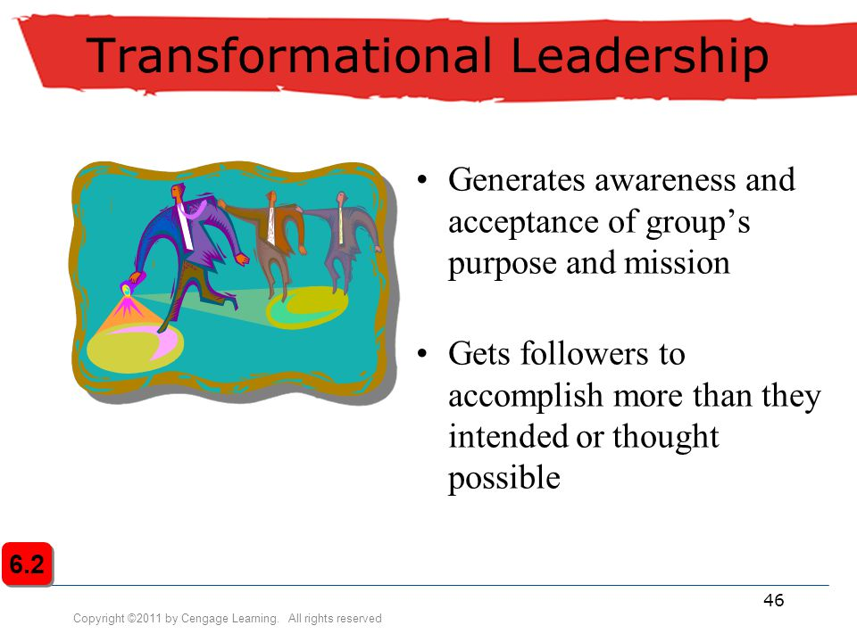 Copyright ©2011 by Cengage Learning. All rights reserved 46 Transformational Leadership Generates awareness and acceptance of group's purpose and miss