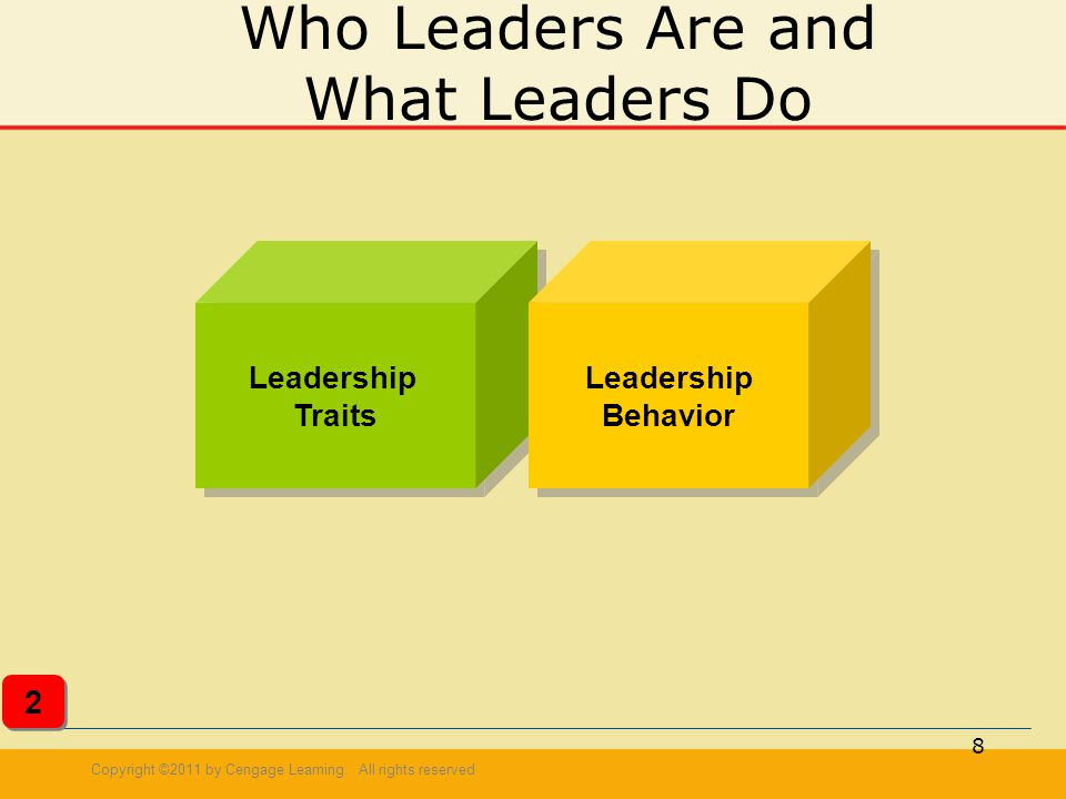 Copyright ©2011 by Cengage Learning. All rights reserved 8 Who Leaders Are and What Leaders Do Leadership Traits Leadership Traits Leadership Behavior