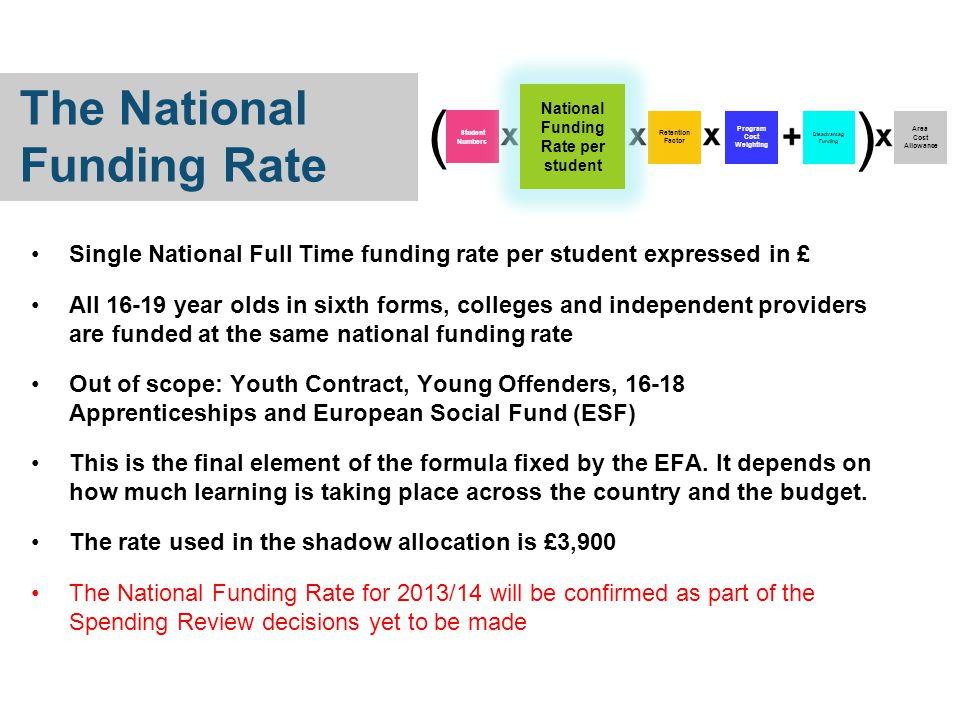 Single National Full Time funding rate per student expressed in £ All 16-19 year olds in sixth forms, colleges and independent providers are funded at the same national funding rate Out of scope: Youth Contract, Young Offenders, 16-18 Apprenticeships and European Social Fund (ESF) This is the final element of the formula fixed by the EFA.