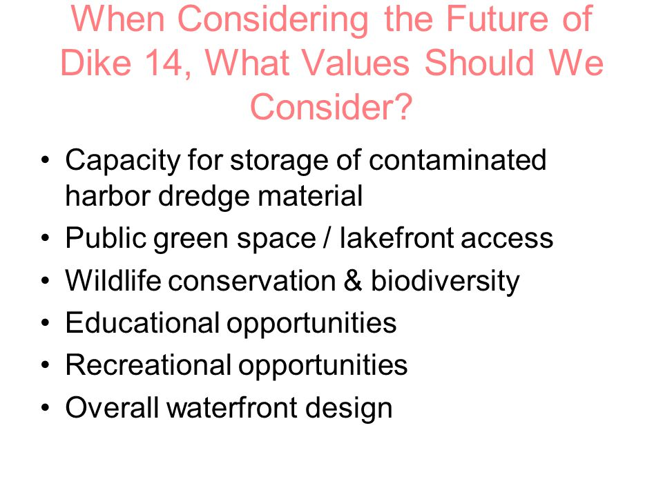 When Considering the Future of Dike 14, What Values Should We Consider.