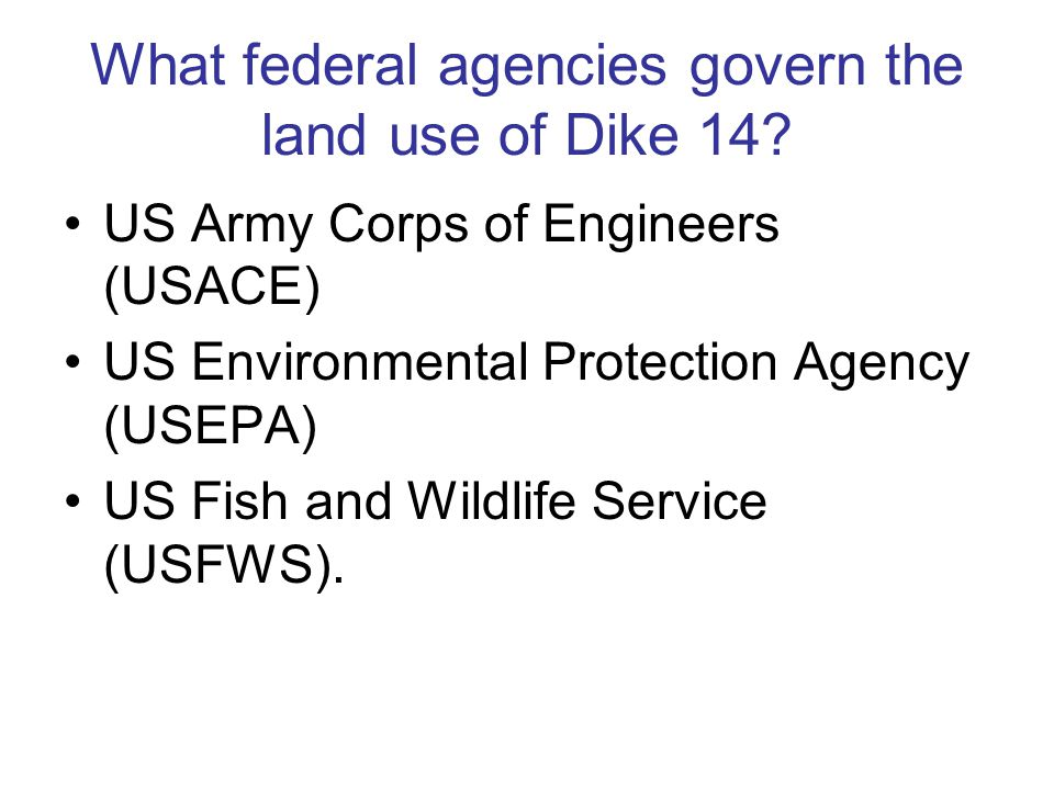 What federal agencies govern the land use of Dike 14.