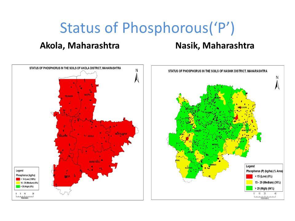 Status of Phosphorous('P') Akola, MaharashtraNasik, Maharashtra