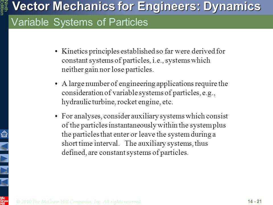 © 2010 The McGraw-Hill Companies, Inc. All rights reserved. Vector Mechanics for Engineers: Dynamics NinthEdition Variable Systems of Particles 14 - 2