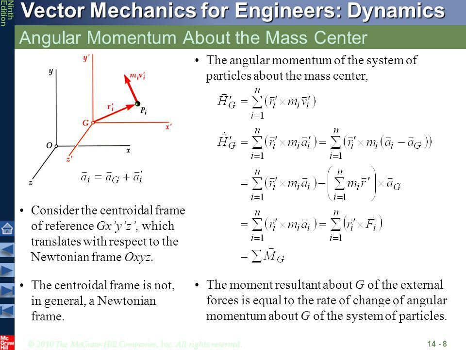© 2010 The McGraw-Hill Companies, Inc. All rights reserved. Vector Mechanics for Engineers: Dynamics NinthEdition Angular Momentum About the Mass Cent