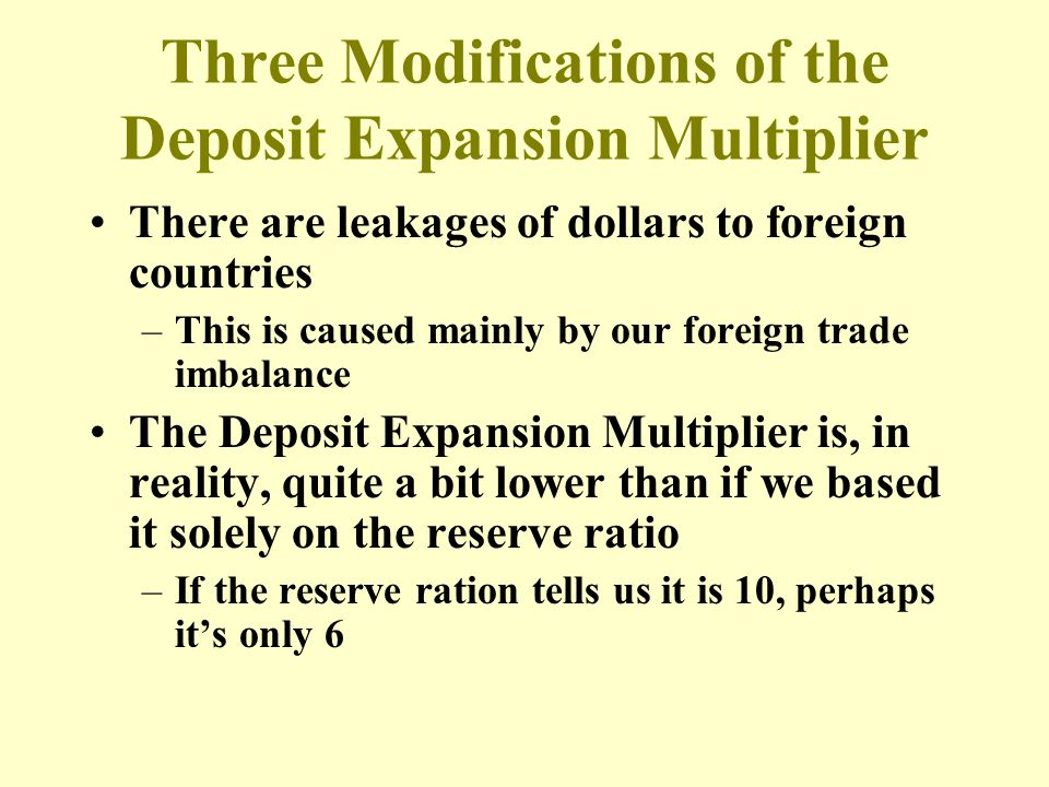 Three Modifications of the Deposit Expansion Multiplier There are leakages of dollars to foreign countries –This is caused mainly by our foreign trade
