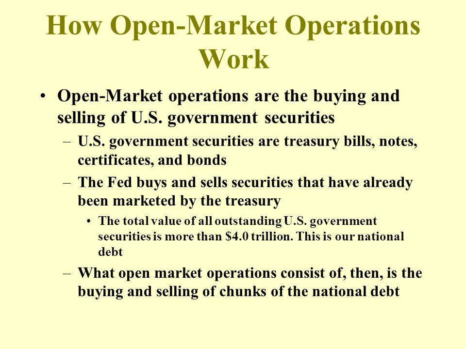 How Open-Market Operations Work Open-Market operations are the buying and selling of U.S. government securities –U.S. government securities are treasu