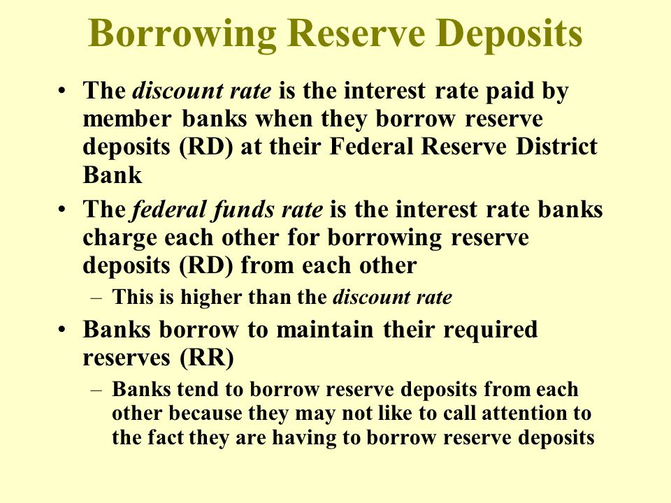 The discount rate is the interest rate paid by member banks when they borrow reserve deposits (RD) at their Federal Reserve District Bank The federal