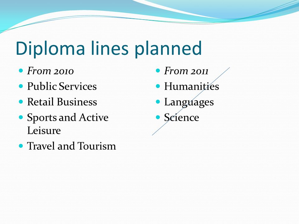 Diploma lines planned From 2010 Public Services Retail Business Sports and Active Leisure Travel and Tourism From 2011 Humanities Languages Science