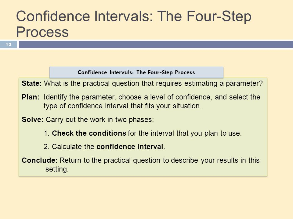 12 Confidence Intervals: The Four-Step Process State: What is the practical question that requires estimating a parameter? Plan: Identify the paramete
