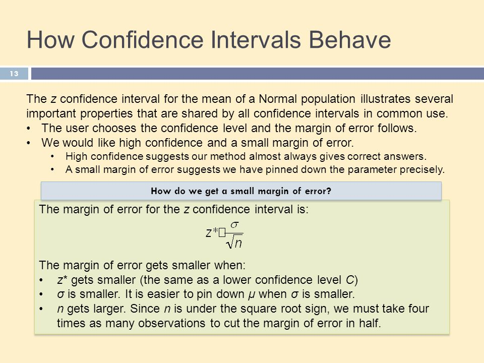 13 How Confidence Intervals Behave The z confidence interval for the mean of a Normal population illustrates several important properties that are sha