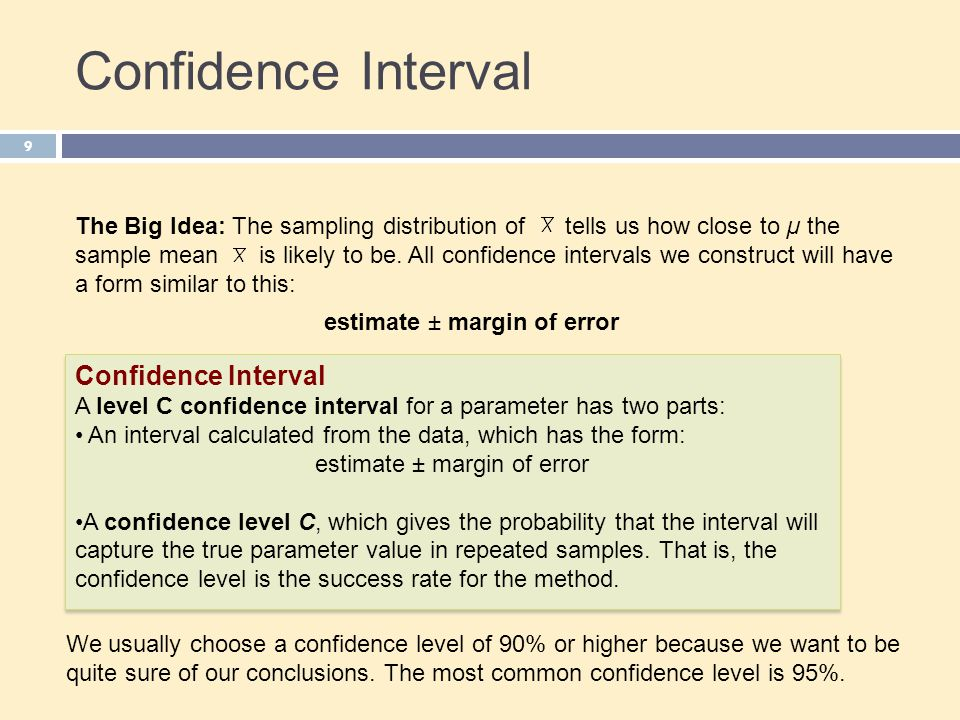 10 Confidence Level The confidence level is the overall capture rate if the method is used many times.
