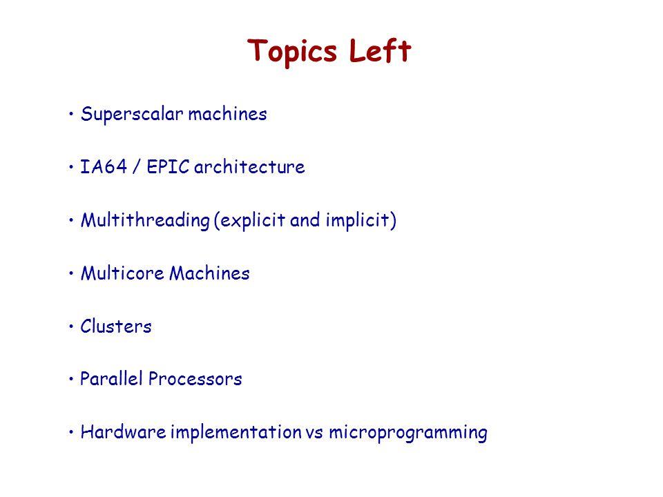 Topics Left Superscalar machines IA64 / EPIC architecture Multithreading (explicit and implicit) Multicore Machines Clusters Parallel Processors Hardw