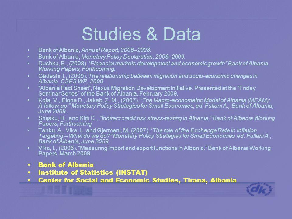 Studies & Data Bank of Albania, Annual Report, 2006–2008.