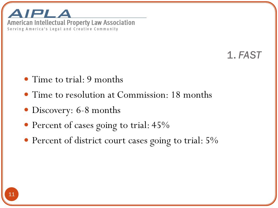 11 Time to trial: 9 months Time to resolution at Commission: 18 months Discovery: 6-8 months Percent of cases going to trial: 45% Percent of district court cases going to trial: 5% 1.