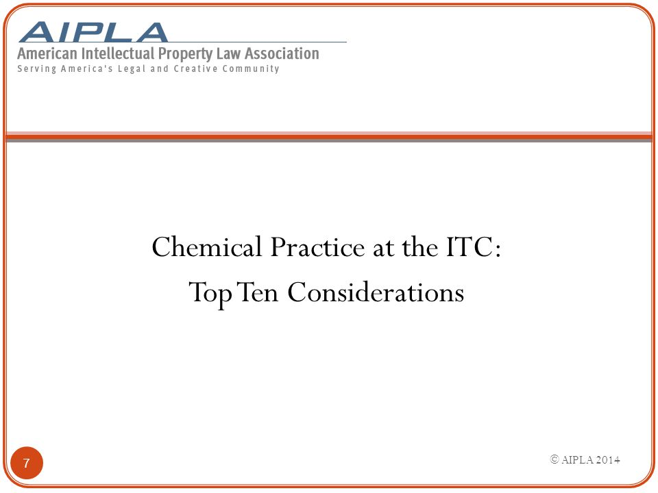 18 3. Defensive use of IPR. Chemical Practice at the ITC
