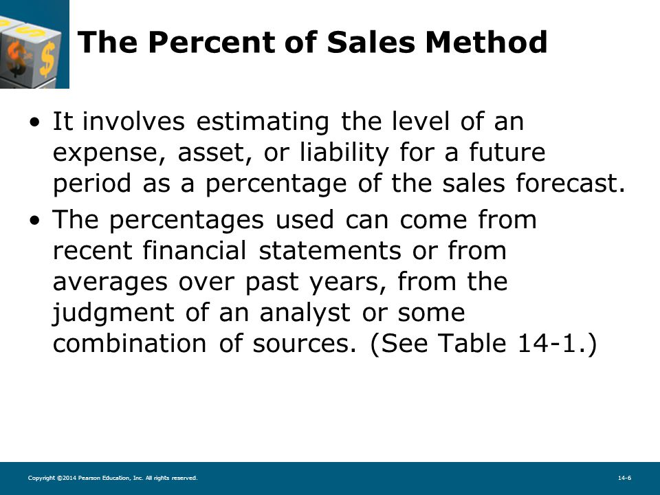 Copyright ©2014 Pearson Education, Inc. All rights reserved.14-6 The Percent of Sales Method It involves estimating the level of an expense, asset, or