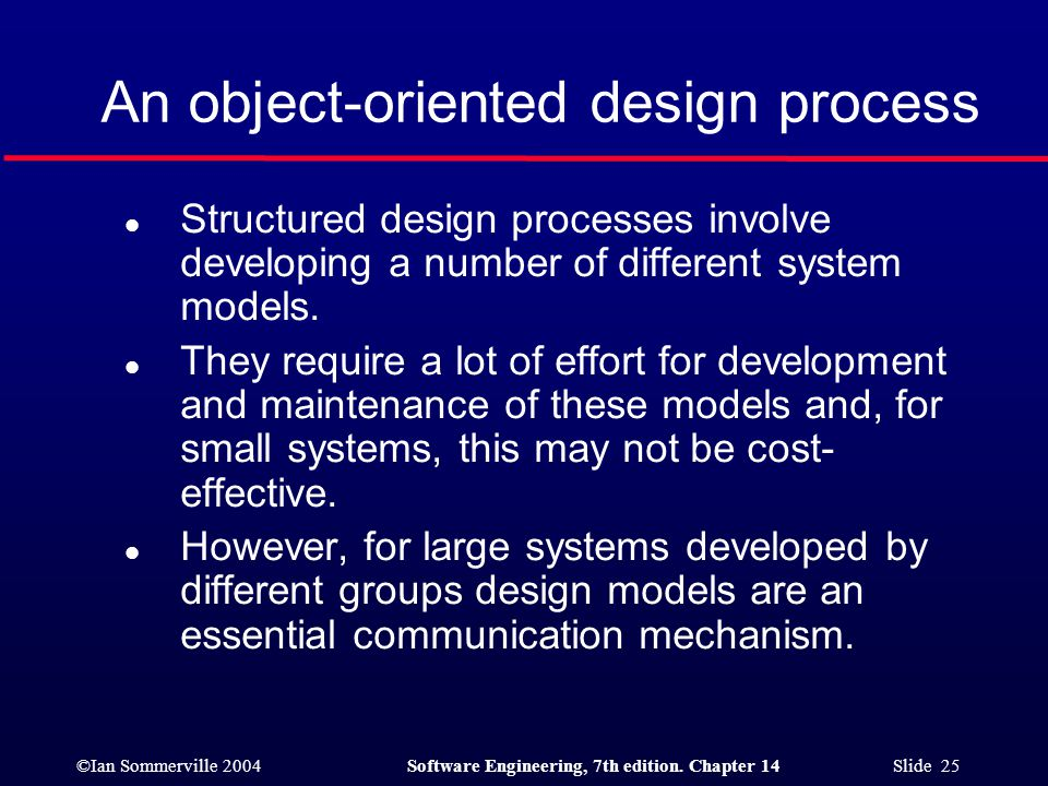 ©Ian Sommerville 2004Software Engineering, 7th edition. Chapter 14 Slide 25 An object-oriented design process l Structured design processes involve de