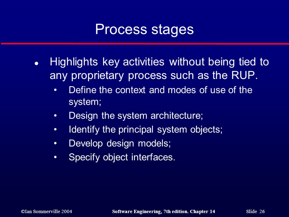 ©Ian Sommerville 2004Software Engineering, 7th edition. Chapter 14 Slide 26 Process stages l Highlights key activities without being tied to any propr
