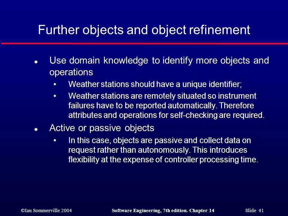 ©Ian Sommerville 2004Software Engineering, 7th edition. Chapter 14 Slide 41 Further objects and object refinement l Use domain knowledge to identify m