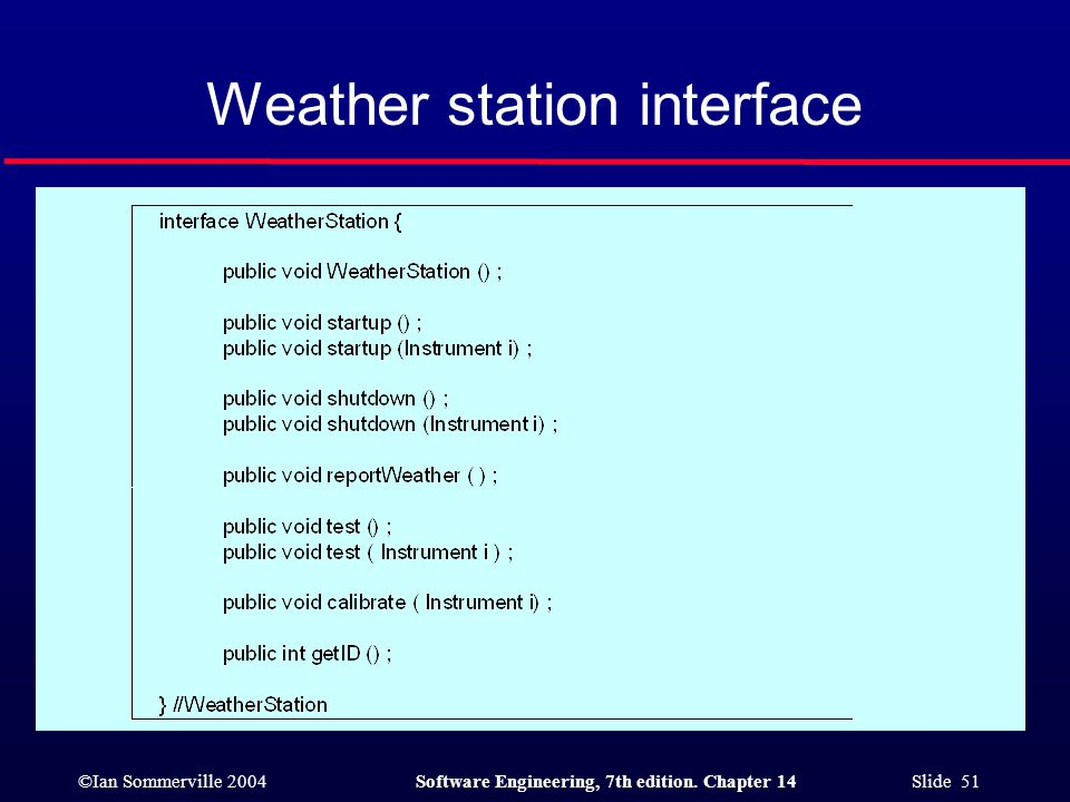 ©Ian Sommerville 2004Software Engineering, 7th edition. Chapter 14 Slide 51 Weather station interface