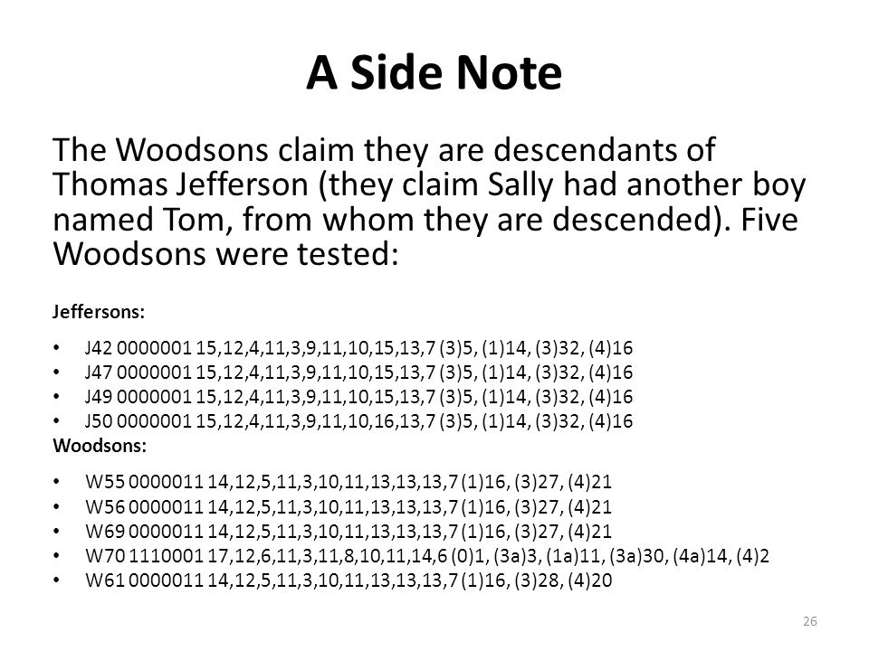 A Side Note The Woodsons claim they are descendants of Thomas Jefferson (they claim Sally had another boy named Tom, from whom they are descended). Fi