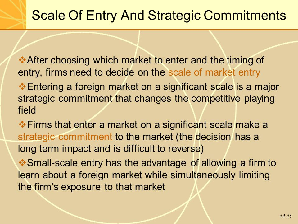 14-11 Scale Of Entry And Strategic Commitments  After choosing which market to enter and the timing of entry, firms need to decide on the scale of ma