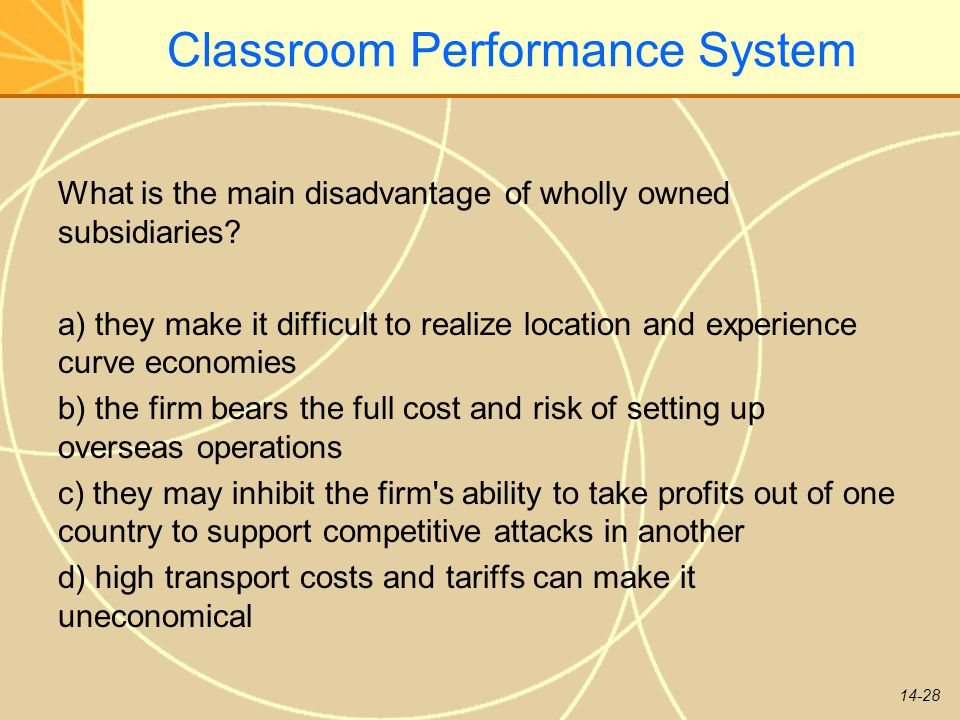 14-28 Classroom Performance System What is the main disadvantage of wholly owned subsidiaries? a) they make it difficult to realize location and exper