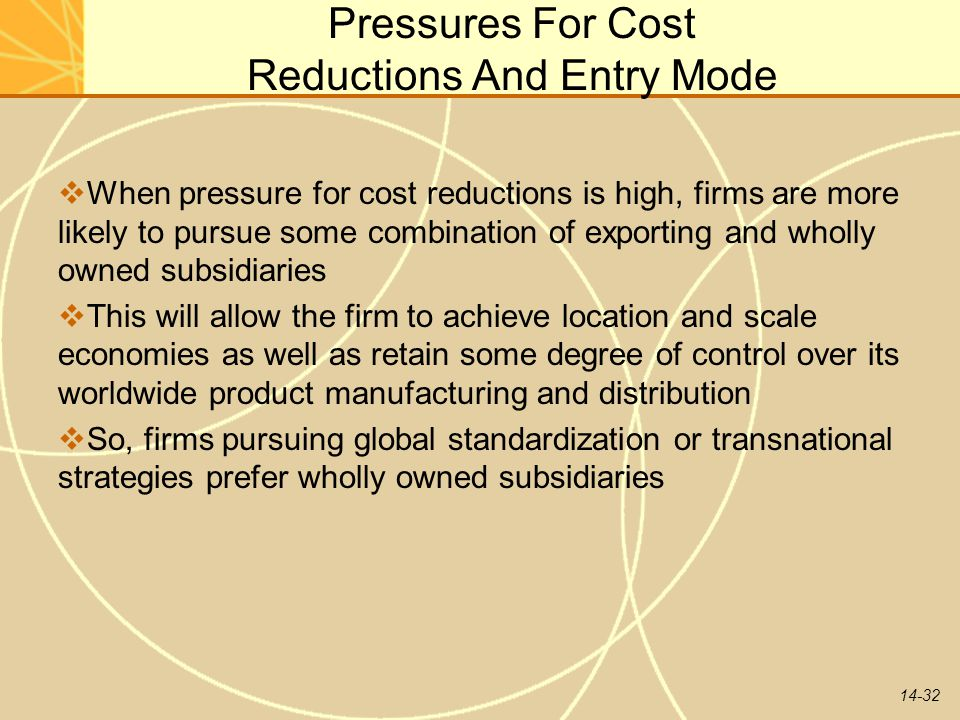 14-32 Pressures For Cost Reductions And Entry Mode  When pressure for cost reductions is high, firms are more likely to pursue some combination of ex