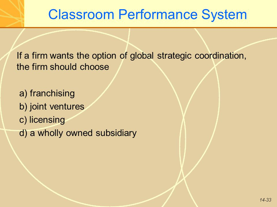 14-33 Classroom Performance System If a firm wants the option of global strategic coordination, the firm should choose a) franchising b) joint venture