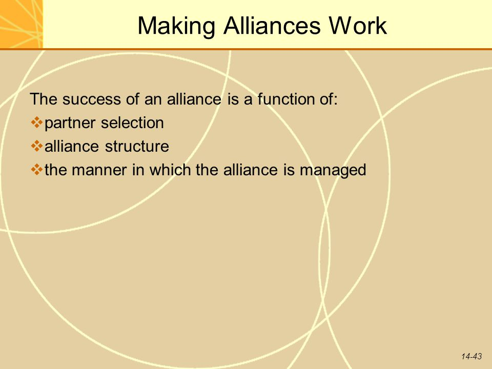 14-43 Making Alliances Work The success of an alliance is a function of:  partner selection  alliance structure  the manner in which the alliance i