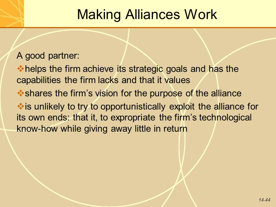 14-44 Making Alliances Work A good partner:  helps the firm achieve its strategic goals and has the capabilities the firm lacks and that it values 