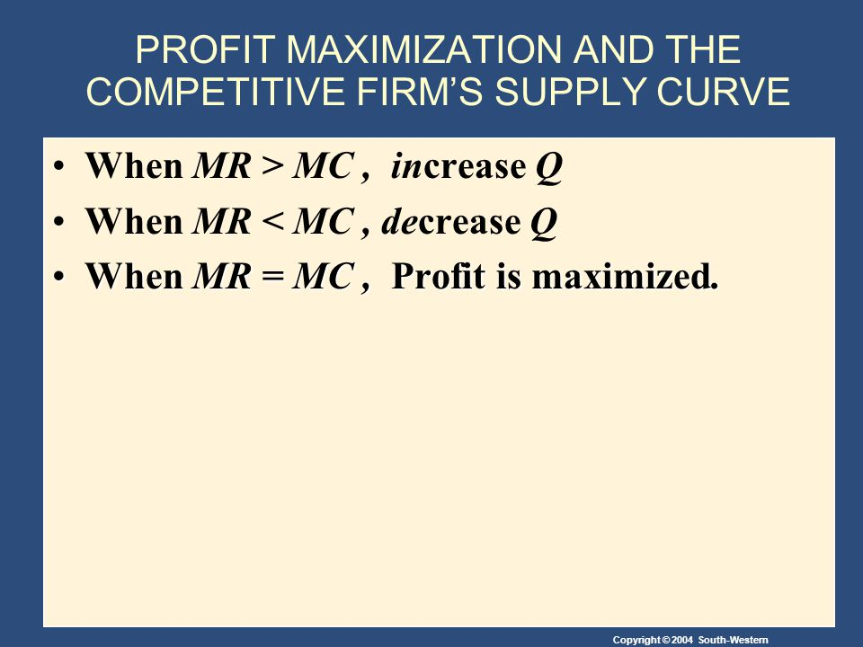 Copyright © 2004 South-Western PROFIT MAXIMIZATION AND THE COMPETITIVE FIRM'S SUPPLY CURVE When MR > MC, increase Q When MR < MC, decrease Q When MR = MC, Profit is maximized.When MR = MC, Profit is maximized.