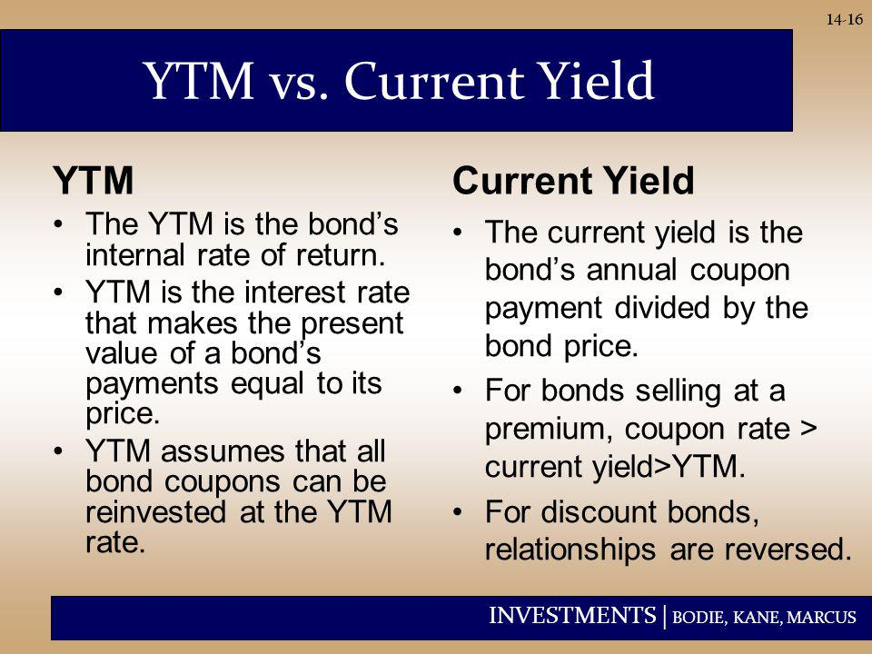 INVESTMENTS | BODIE, KANE, MARCUS 14-16 YTM vs. Current Yield YTM The YTM is the bond's internal rate of return. YTM is the interest rate that makes t