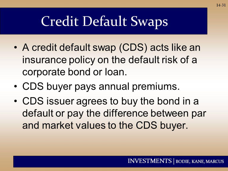 INVESTMENTS | BODIE, KANE, MARCUS 14-31 Credit Default Swaps A credit default swap (CDS) acts like an insurance policy on the default risk of a corpor