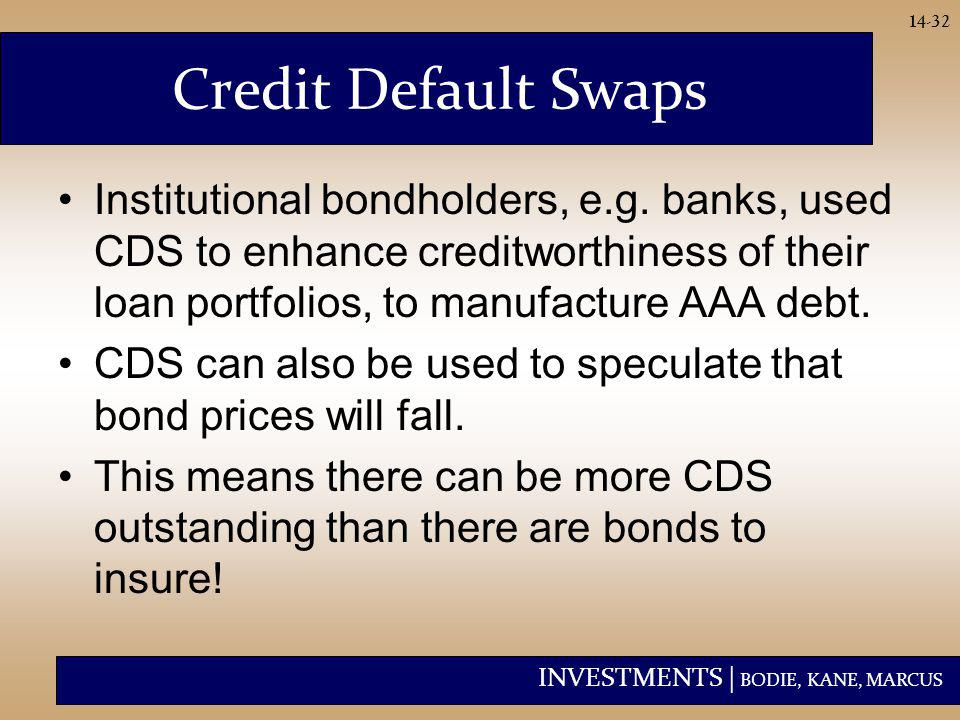 INVESTMENTS | BODIE, KANE, MARCUS 14-32 Credit Default Swaps Institutional bondholders, e.g. banks, used CDS to enhance creditworthiness of their loan