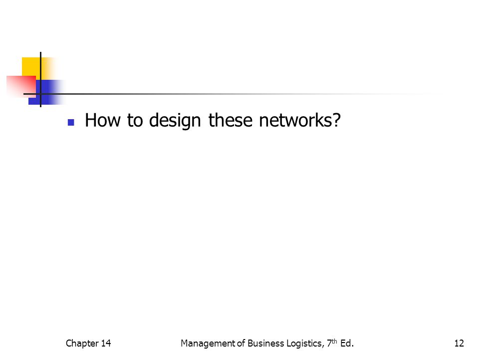 Chapter 14Management of Business Logistics, 7 th Ed.12 How to design these networks