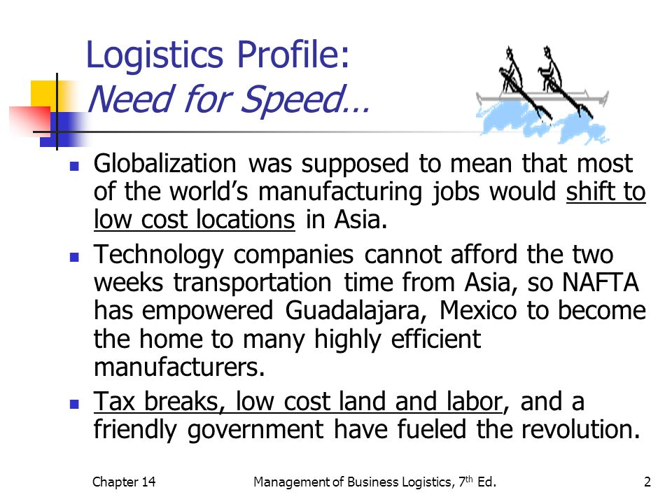 Chapter 14Management of Business Logistics, 7 th Ed.2 Logistics Profile: Need for Speed… Globalization was supposed to mean that most of the world's manufacturing jobs would shift to low cost locations in Asia.