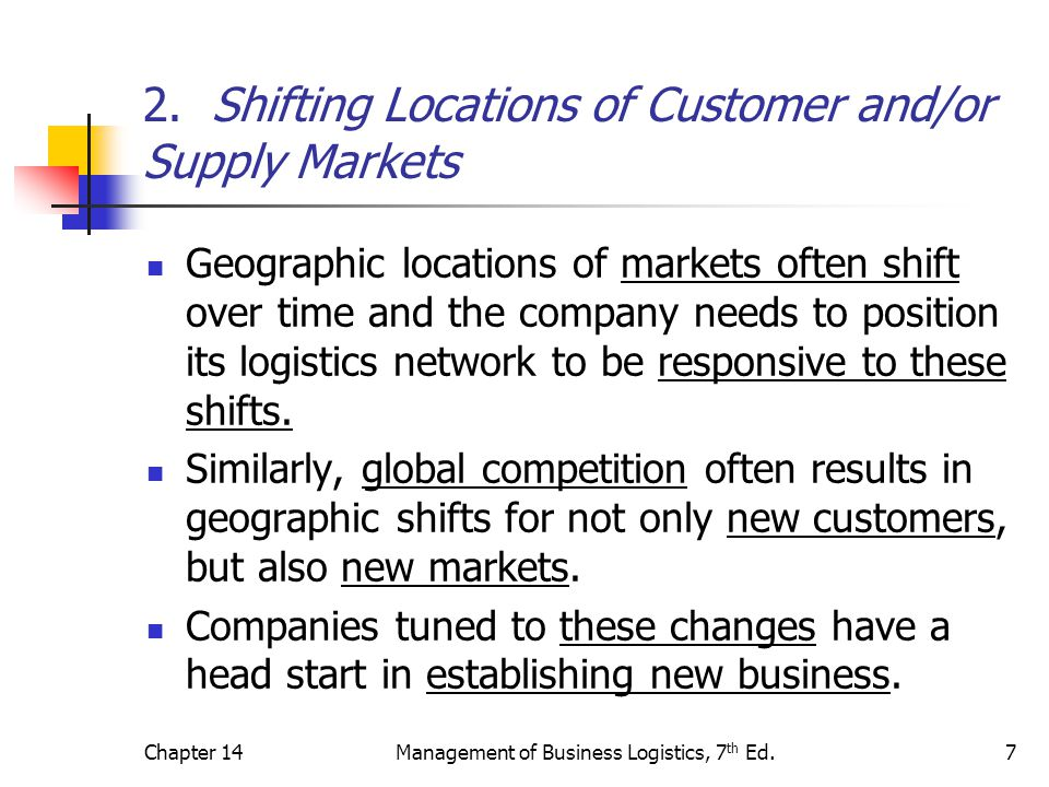 Chapter 14Management of Business Logistics, 7 th Ed.7 2.