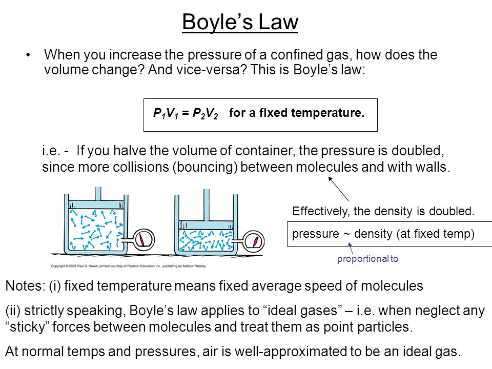 Boyle's Law When you increase the pressure of a confined gas, how does the volume change? And vice-versa? This is Boyle's law: i.e. - If you halve the