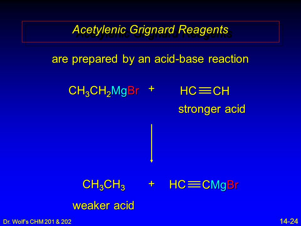 Dr. Wolf's CHM 201 & 202 14-24 Acetylenic Grignard Reagents are prepared by an acid-base reaction CH 3 CH 2 MgBr + CH 3 CH 3 stronger acid weaker acid