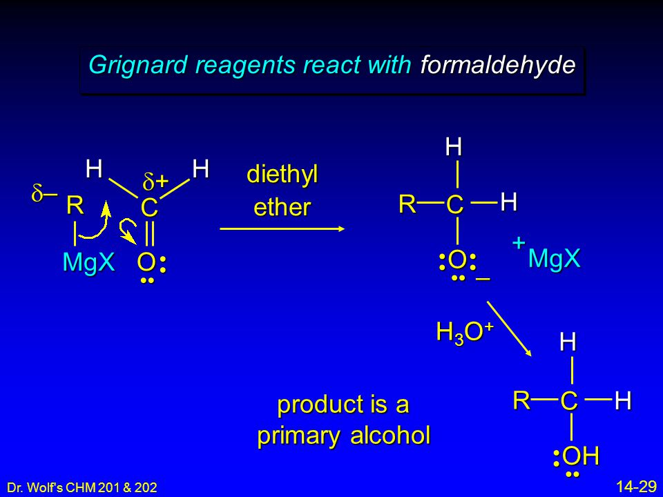 Dr. Wolf's CHM 201 & 202 14-29 Grignard reagents react with formaldehyde RMgX C O – MgX+ –––– ++++ R C O R C OH H3O+H3O+H3O+H3O+ diethyl ether