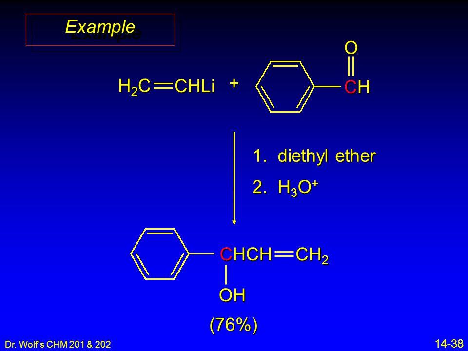 Dr. Wolf s CHM 201 & 202 14-38 ExampleExample (76%) H2CH2CH2CH2CCHLi + CHCHCHCHO 1.