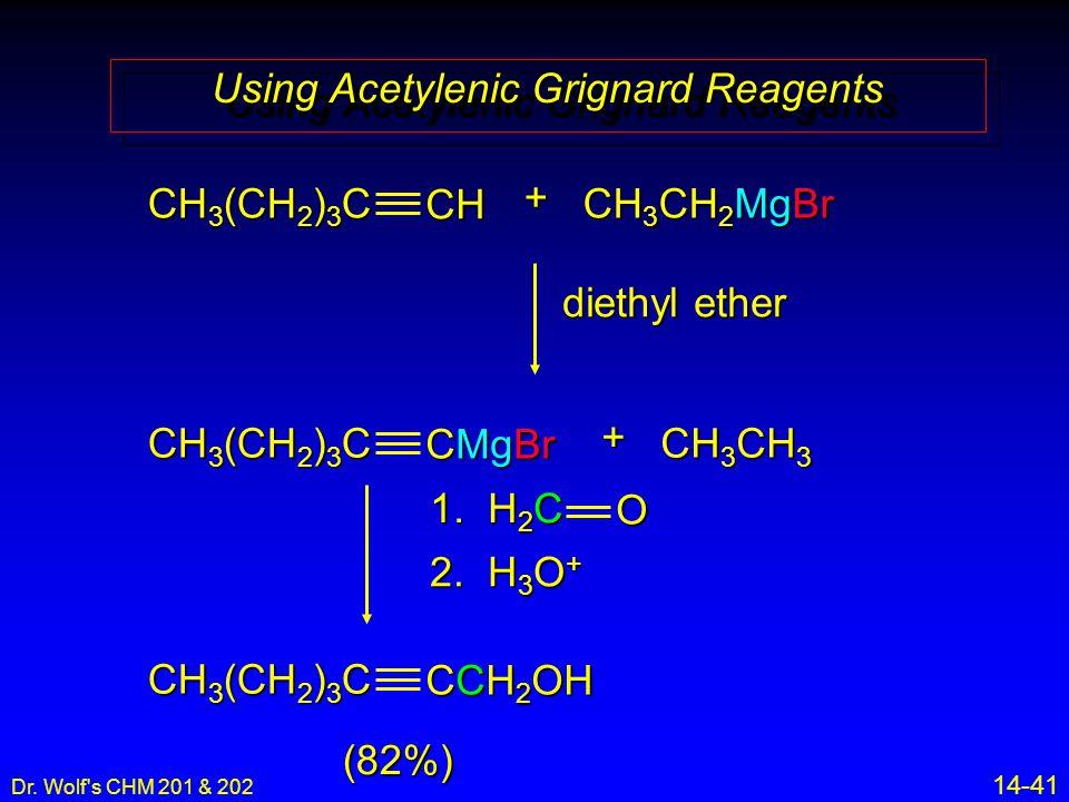 Dr. Wolf's CHM 201 & 202 14-41 CH CH 3 (CH 2 ) 3 C + CH 3 CH 2 MgBr CMgBr CH 3 (CH 2 ) 3 C + CH 3 CH 3 diethyl ether 1. H 2 C O 2. H 3 O + CCH 2 OH CH